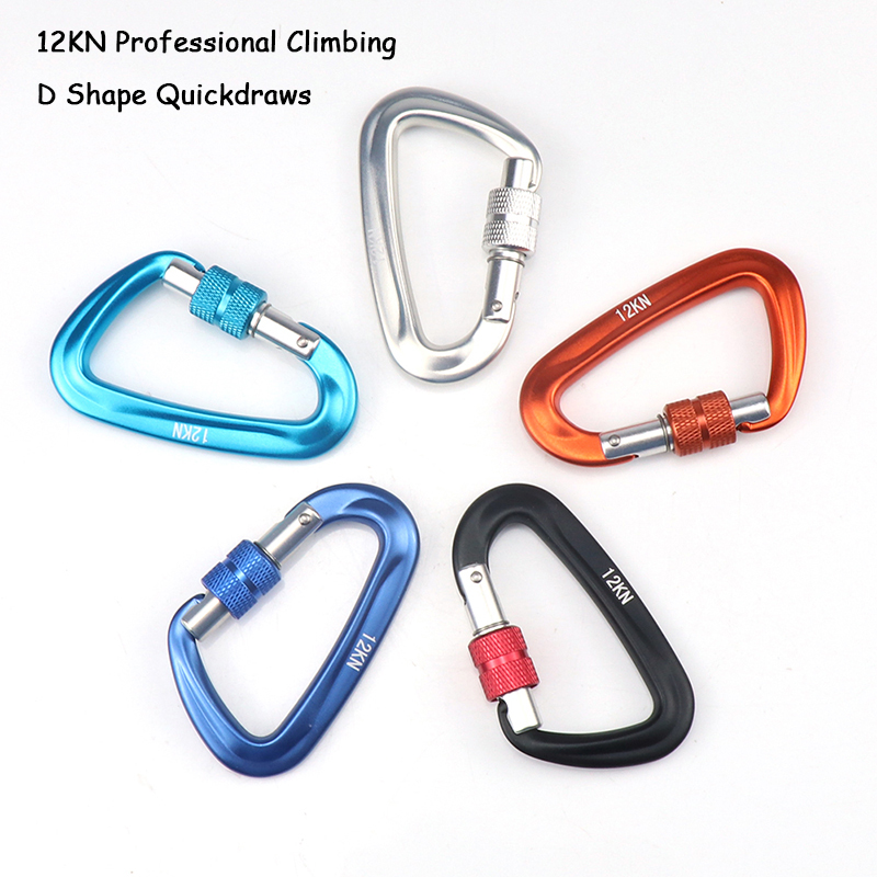 12KN Climbing Carabiner D Shape Quickdraws Professional Climbing Buckle Lock Security Safety Lock Outdoor Climbing Equipment