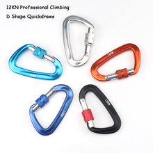 12KN Climbing Carabiner D Shape Quickdraws Professional Buckle Lock Security Safety Outdoor Equipment