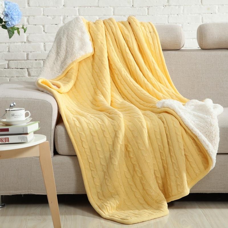 ФОТО Spring Autumn Double-layer Sleeping Bed Blanket Cotton Plus Velvet Knitting Super Soft Home Sofa Blanket Warm Cobertor Throw