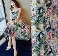 New Super Heavy 19 moomin Designer green Peacock Print Satin Fabric Woven Material For Curtain Cloth Dress 97% Silk baby fabric