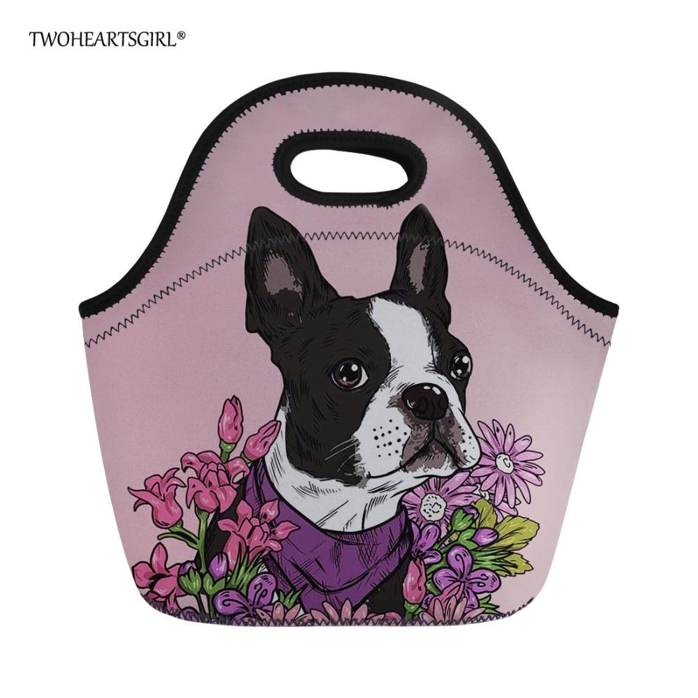 Twoheartsgirl Kawaii Boston Terrier Print Lunchbag Picnic Food Bag for Women Tide Kids Insulated Cooler Lunch Bag Food Bags