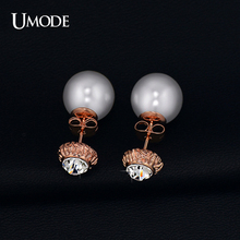 UMODE Brand 2017 Rose Gold Rhodium color Austrian Rhinestone Fashion Simulated Pearl Stud Earrings For Women