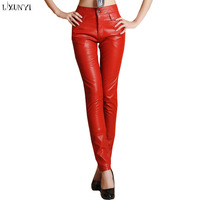 New Arrivals 2019 Autumn Winter Women Pu Leather pants high waist Solid formal Long Leather Trousers red/black Plus Size Slim