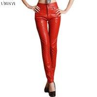 Os Recém-chegados 2018 Outono Inverno Mulheres Calças De Couro Pu calças De Couro calças de cintura alta Sólidos formal Longo vermelho/preto Mais tamanho Magro