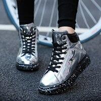 Silver Glossy Hip Hop Punk Shoes Dance Unisex Fashion High Top Flat Women Casual Shoe Pu Patent Leather Couple Zapatillas Hombre