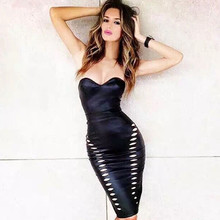 Top Quality Celebrity Black Strapless Hollow Out Leather Dress Fashion Elegant Bodycon Dress