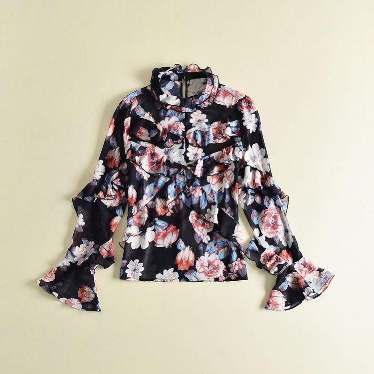 Blusa Nueva Designer Impresión Cambric Moda Mujer Llegada Larga 2018 Runway De Manga Flare Primavera Verano 5TqRgxw