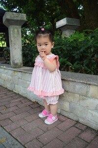 Image 4 - 2PCS ילדה הקיץ ורוד שמלת סט חמוד אנגליה אירופה פס שמלת וינטג ספרדית שמלת עבור תינוק בנות 100% איכות כותנה