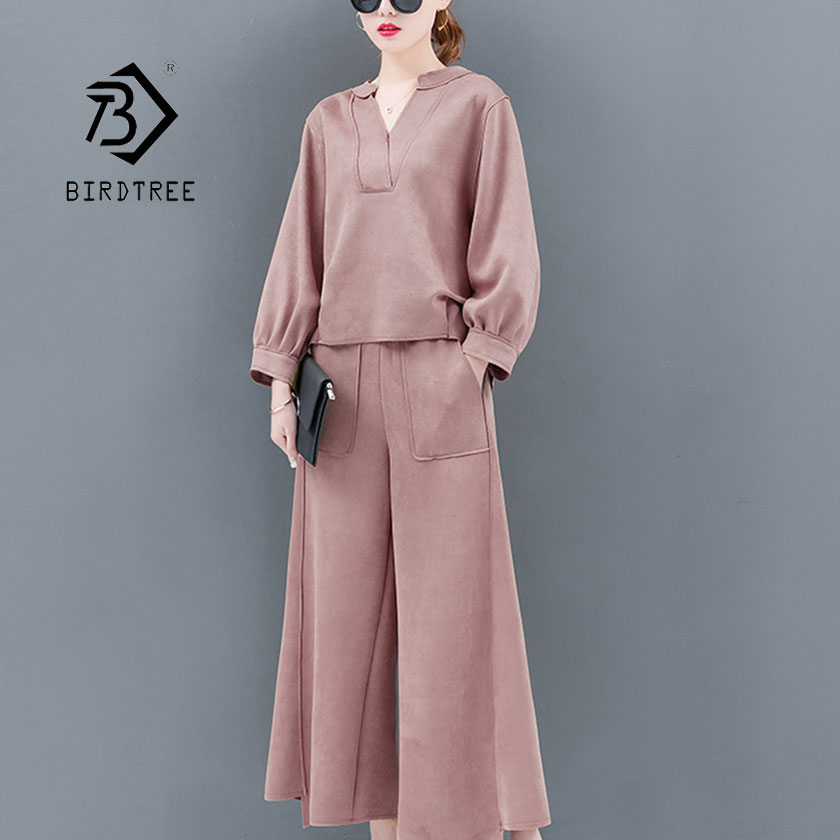 Dedicated 2019 Spring New Womans 2 Piece Set Split Loose Solid Top Elastic Waist Pocket Wide Leg Pants Office Lady Casual Hot Sales93902z Women's Clothing
