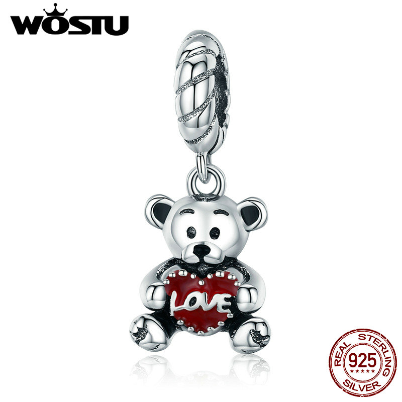 WOSTU 100% 925 Sterling Silver Animal Collection Little Bear with Love Hug Charm fit Charm Bracelet Bangle DIY Jewelry CQC521 wostu 100% 925 sterling silver i love my family sweet home charm bracelet bangle for women cute girl lovely jewelry gift cqb810