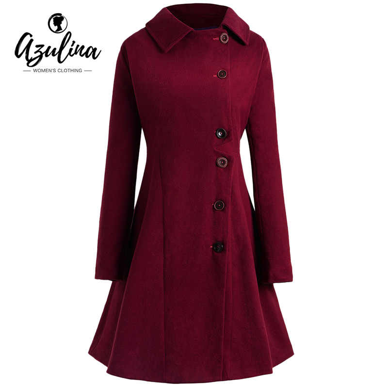 cbe7d80ab02 Detail Feedback Questions about AZULINA Plus Size Buttons Long Coat Women  Wool Coat Fall Winter Outwear Casual Slim Hooded Long Sleeve Outerwear  Female ...
