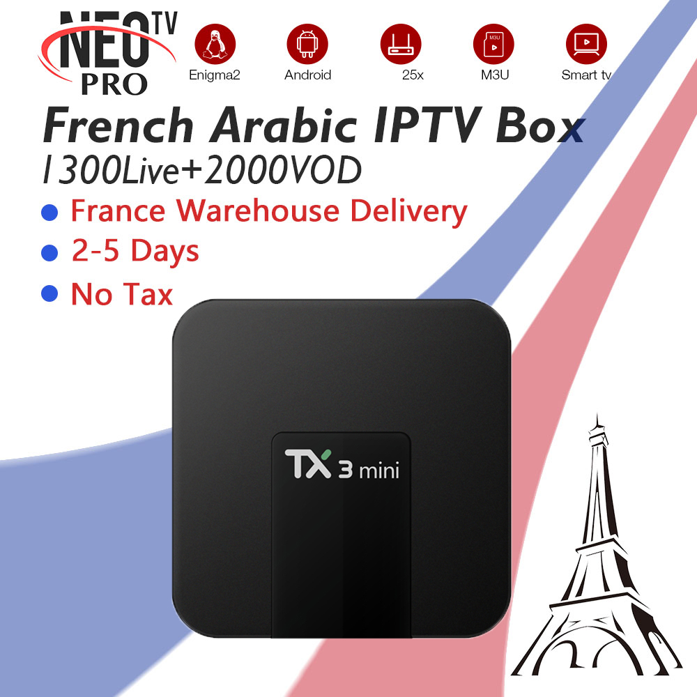 TX3Mini Smart Android Set Top TV Box With French Arabic Belgium Morocco IPTV Subscription 1300+Live 2000+VOD 4K Ship From France цены