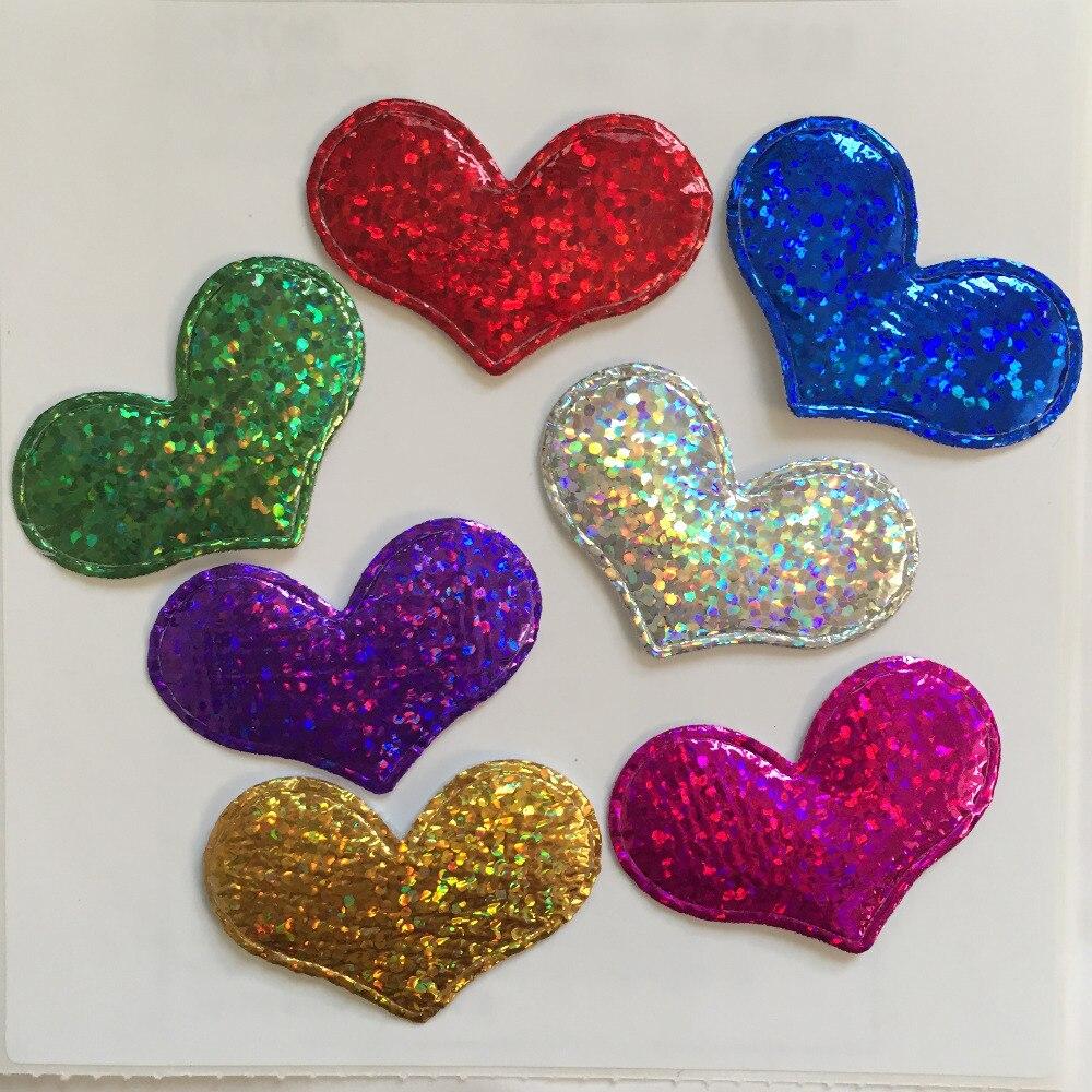 40pcs 38mm Padded Heart Applique Wedding /Christmas Decoration Craft DIY Random Mix A59A