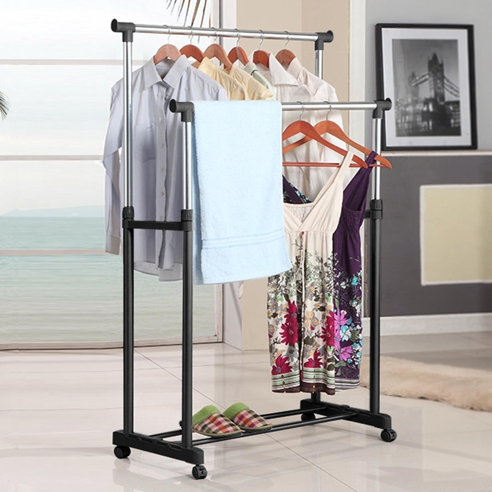 Вешалка для одежды, портативная регулируемая двойная сушилка для одежды, подвесные Крючки-вешалки с колесиками, полка для обуви, Прямая поставка, новое поступление