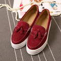 British Fashion Tassel Cuts Out Flat Platform Women Flats Shoes Genuine Leather Handmade Thick Rubber Sole Pig Leather Inside
