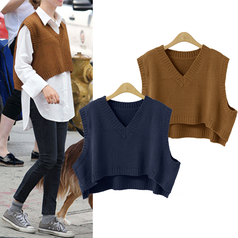 New V-Neck Short Sweater Vest Women Korean Pullovers Casual Pullover Knitting Autumn Winter Clothes Women Sueter Mujer C80909