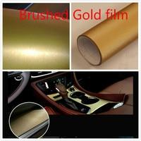 50cm 152cm Car Sticker Carbon Fiber Vinyl Wrap Brushed Gold Film Plating Matte Drawing Film Waterproof