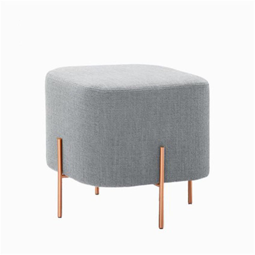 European Style Square Low Stool Linen Fabric With Gold Iron Leg For Living Room Sofa Side Ottoman Stool Footstool Home Furniture