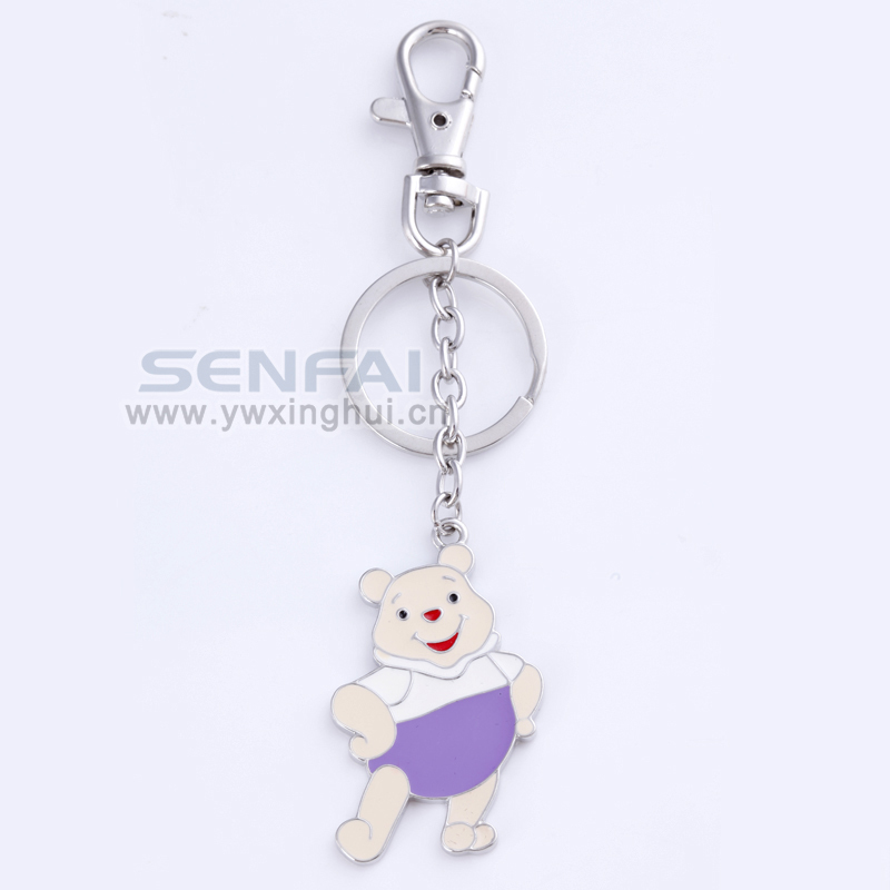 New Brand Novelty Cartoon bear Relogio KeychainSilver Plated Charms Trinket Key Chain Ring Holder Fashion Jewelry