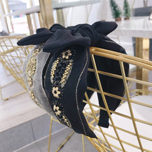 Korea Fabric Lace Embroidered Flower Pearl Bow Hairbands Bunny Hair Accessories Crown Headbands For Women korea pearl shining bow hairbands hair accessories crystal hair bows flower crown headbands for women 4