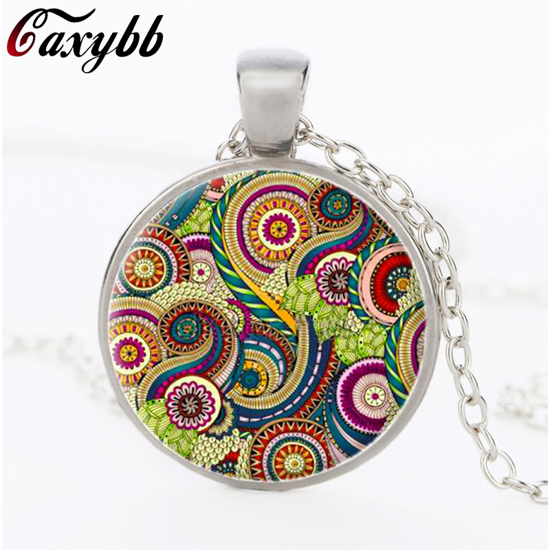 silver plated green orange pink Mandala necklace indian Om henna yoga pendant glass pendant Buddhism Spiritual Mandala jewelry