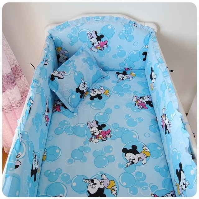 Promotion! 6PCS Mickey Mouse baby bedding set 100% unpick and wash cotton crib kit baby bed around (bumpers+sheet+pillow cover)