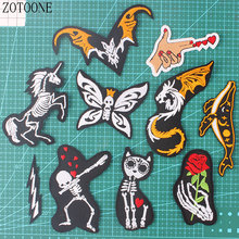 Zotoone Butterfly Rose Patch Clothing Embroidery Cartoon Cat, Horse, Bat, Shark DIY Jeans Tin D