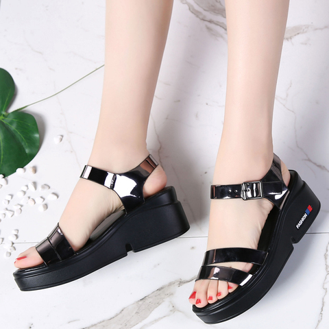O16U NEW Summer women sandals platform wedges thick heel flat gladiator sandals ladies Shoes Patent PU Strap platform sandals Lahore