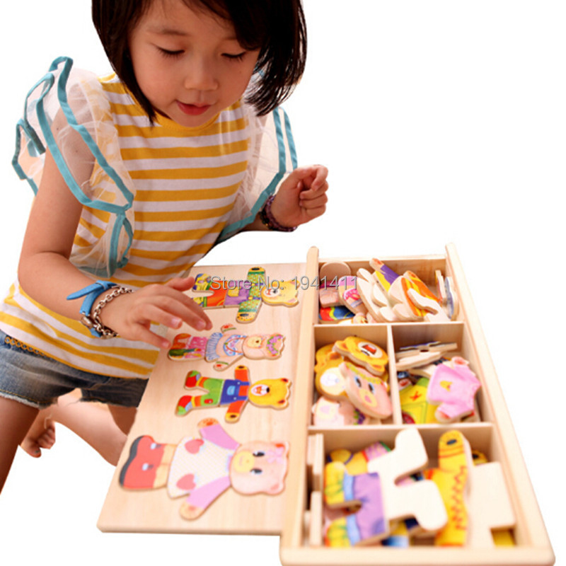 Hot educational Wooden Toys Winnie Locker Box Stereo Jigsaw Puzzle Toy Baby  creative Gift children s early childhood educational toys the bear change clothes play toys creative wooden jigsaw puzzle girls toys