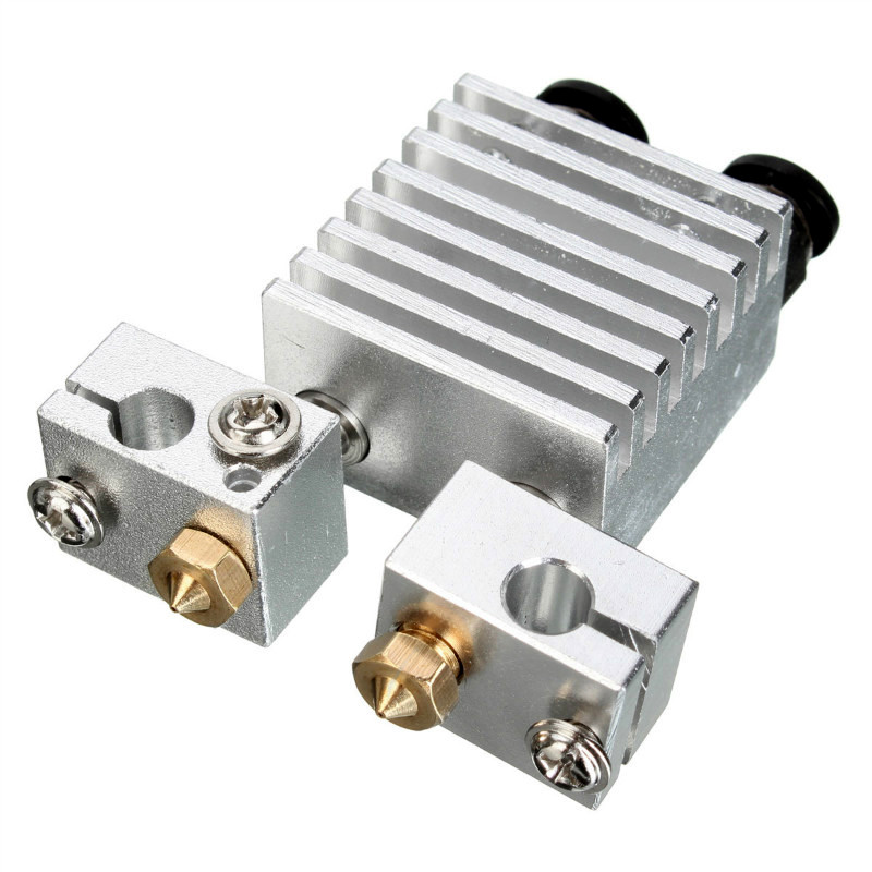 1Pcs Aluminum Double Nozzle Remote Kits 1.75mm 3mm Double Head with Long Distance Heating Print Head Extruder For 3D Printer
