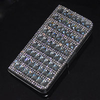 New Black Luxury Bling Rhinestone Diamond Flip Wallet Leather Case Cover For IPhone 6 4 7