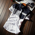 plus size 5xl 2016 Korean men Plaid shirts pocket design short sleeve male shirts slim fit stylish casual camisa masculina MQ26