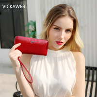 VICKAWEB Wristlet Wallet Purse Genuine Leather Wallet Female Long Zipper Women Wallets Card Holder Clutch Ladies