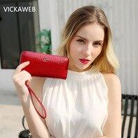 VICKAWEB Wristlet Wallet Purse Genuine Leather Wallet Female Long Zipper Women Wallets Card Holder Clutch Ladies