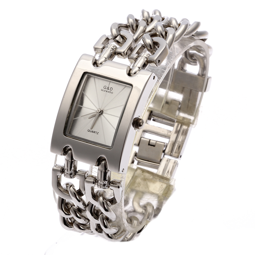 2018 Nya G & D Kvinnor Armbandsur Kvartsur Silver Topp Märke Lyx Rhinestone Armband Klocka Relogio Feminino Saat Reloj Mujer