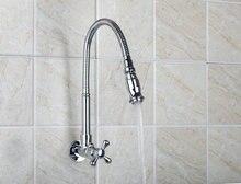 Новый Дизайн поворотный 360 спрей настенное крепление хромированная латунь водопроводной воды раковина Кухня torneira Cozinha смеситель кран RQ8551-3A