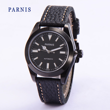 Top Quality 40mm Parnis Sapphire Crystal Black Dial PVD Case Soft Genuine Leather Watch Band Business