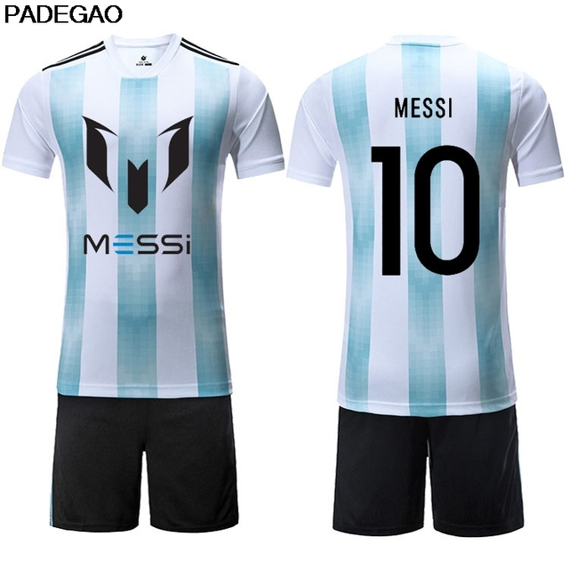 cfa25650b72 Professional Customize men Breathable 2018 Soccer Jerseys 10 Lionel Messi  Uniforms Football Kit Shirt for fans gift