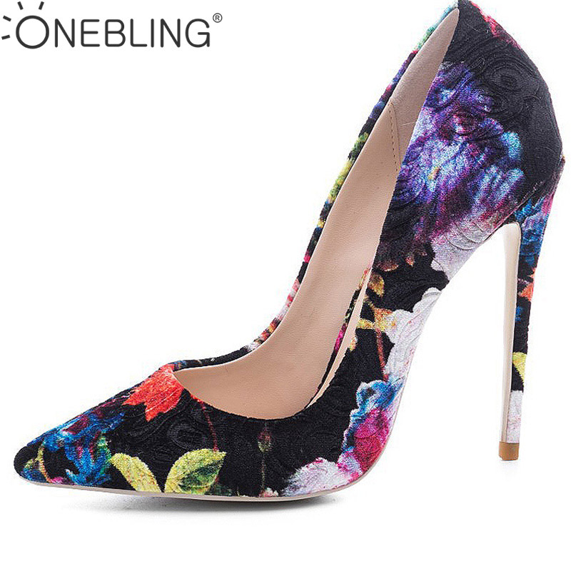 One Bling 12 CM Women Heels Shoes Fashion Floral Print Flock Fabric Pointed Toe Thin High Heel Shoes Slip-On Party Shoes Pumps 2018 women yellow high heel pumps pointed toe metal heels wedding heel dress shoes high quality slip on blade heel shoes