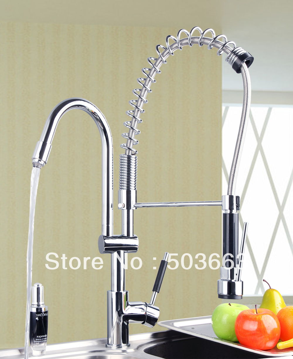 Fashion Double Handles Free Chrome Brass Water Kitchen Faucet Swivel Spout Pull Out Vessel Sink Single
