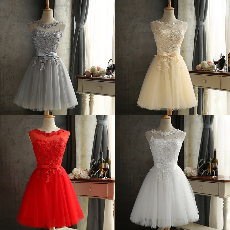 New Short   Bridesmaid     Dresses   Cute CG00286 Tulle Appliques Lace Graduation Skirts A-Line Sleeveless Wedding Party Gowns For Woman