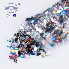500PCS Mix Color Loose Horse Eye Rhinestones Non Sewing Flatback Acrylic Crystal Ab For Nail Art S037