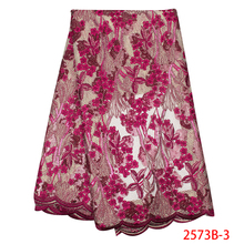 2019 High Quality African Lace Fabric Hot Sale French Tulle Net  Embroidery  Lace with Sequins Lace for Wedding KS2573B-3