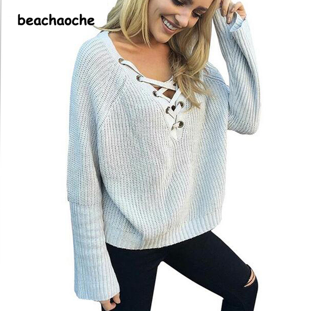 e64e458b8028 Coffee Cotton Sweater Women Long Sleeve Lace Up Solid Sweaters Casual  Office Formal Work Knitted Pullovers 2016