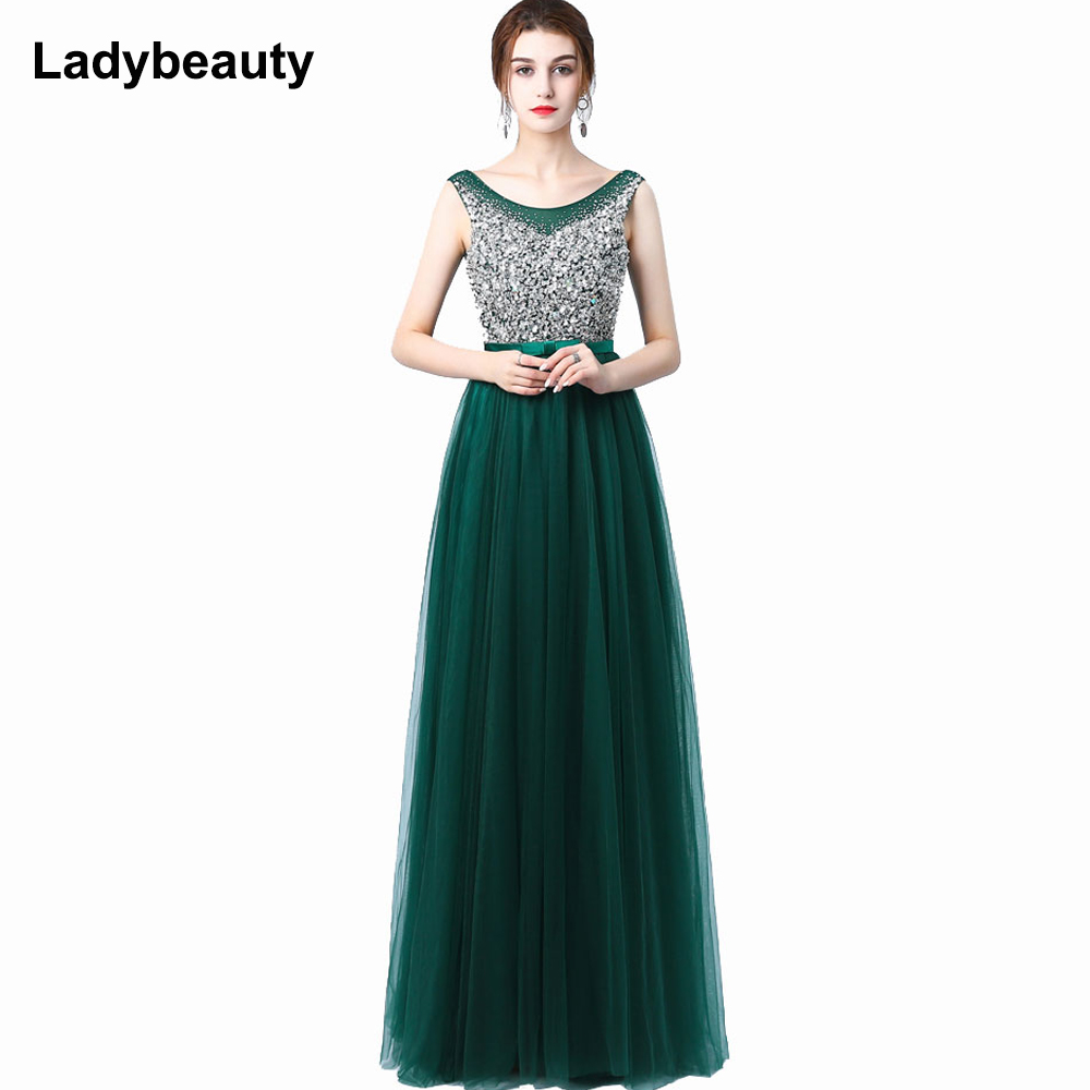 Ladybeauty 2018 New Sexy Luxury Long Style Tulle Evening Dress with Bling Bead and Crystal Pearl Floor Length for Prom Party