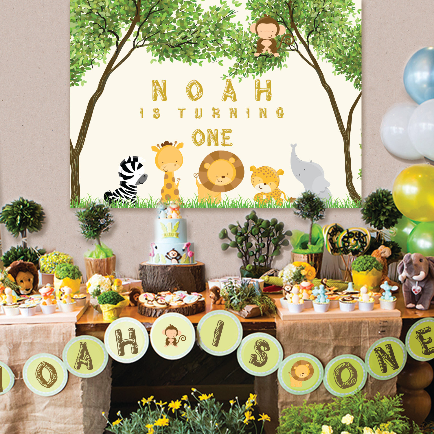 custom Safari Jungle Animals Baby Shower 1st Birthday Tree background High  quality Computer print party backdrops-in Background from Consumer  Electronics on ...