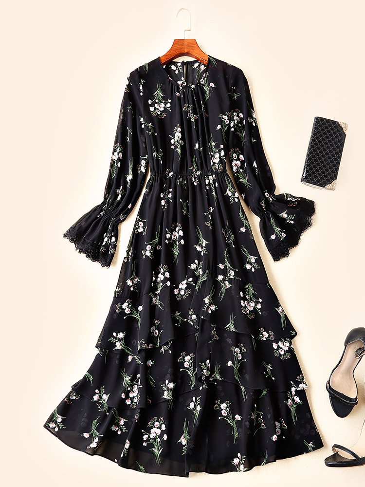 De Femmes Luxe Hfa02198 2019 Nouvelle Robe Style Européenne Design Qualité Mode Printemps Supérieure Partie Célèbre wFqI8qTC