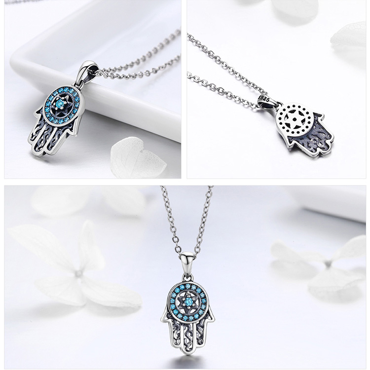 HTB11iectkyWBuNjy0Fpq6yssXXak BAMOER Genuine 925 Sterling Silver Trendy Fatima's Guarding Hand Pendant Necklaces Women Fine Silver Jewelry Gift SCN264