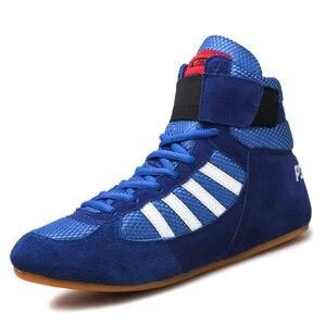 Zapatos de lucha para boxeo para hombres y mujeres, zapatillas de entrenamiento de cuero para lucha libre, zapatos profesionales de cuero genuino para hombres y mujeres
