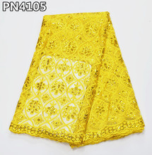 Crazy Sales Yellow French Lace 5yards African Sequins Lace Fabrics for Nigerian party Wholesale and Retail for Wedding PN41 цены онлайн